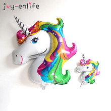 JOY-ENLIFE 1pcs Rainbow Unicorn Aluminum Foil Balloons Inflatable Helium Cartoon Balloons Kids Birthday Party Decor Supplies(China)