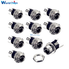 10PCS 5.5 x 2.1mm DC Power Supply Jack Socket Female Panel Mount Connector Adapter 3-Pin 12mm x 12mm x 20mm(China)