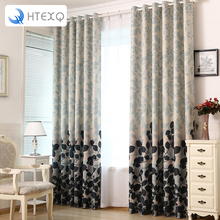 Fashion Light Grey Flower curtain Foil Printed Thermal Insulated Bedroom Grommet Blackout Curtains for bedroom and living room