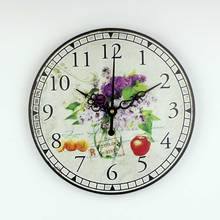 Mediterranean style kitchen wall clock with waterproof clock face beautiful home decoration mute quartz watch wall clock gift(China)