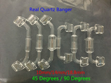 100% Real Quartz Banger glass pipes water bongs Quartz Domeless Nail Female Male 45/90 Degrees Quartz Banger Nail(China)