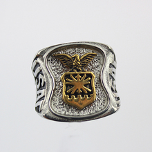 US Air Force Insignia Ring Silver Colored Air Force Signet Ring Gold Plating USAF Military Collectibles(China)