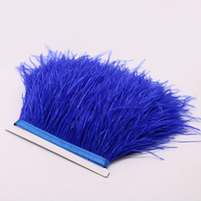 1yard Beautiful Royal Blue Ostrich Feathers Fringe Trim Millinery Supplies Christmas Holiday Jewelry Decoration Ribbons