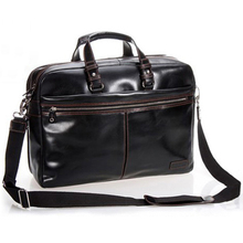 "Luxury Men Leather Briefcase Men Business Bag Genuine Leather Briefcase Male 15""Laptop Bag Office Bag Shoulder Bag Tote Black(China)"