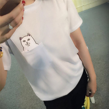 2017 Fashion women Casual Summer Couple Plain Tops Pullover Short Sleeve O-neck Pocket Cat Print Cotton T-shirt