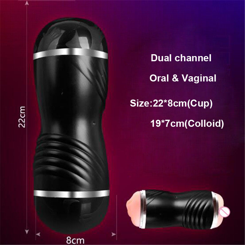 Artificial vaginal & Oral Dual channel Masturbator for man Pocket Sex Vagina real pussy Adult toys for men Masturbation Blowjob 7
