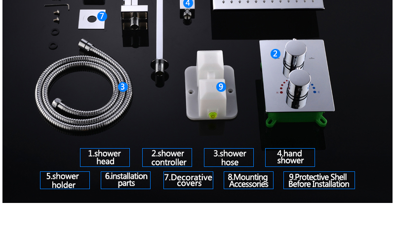 10'' Thermostatic Shower Systems Mixer Valve Set Install The Box Mixing Valve Handheld Bathroom Fold The Faucet Bath Shower Set (32)