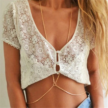 Popular Fashion Sexy Golden Plated Alloy Body Chains Jewelry For Women Sexy Belly Chains  For Beaches Drop Shipping