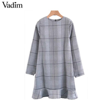 Vadim women houndstooth checkered dress hem ruffles long sleeve female chic autumn mini dresses vestidos mujer QZ3279(China)