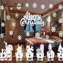 MagiDeal Festive White Snowflake Santa Wall Art PVC Decals Merry Christmas Celebration Removable Home Shop Window Stickers(China)