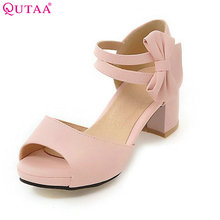 QUTAA 2018 Summer Women Pumps Square Med Heel Butterfly-Knot Peep Toe Hook&Loop PU leather Ladies Wedding Shoes Size 34-43