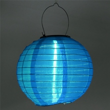 High Quality Colorful 8Inch Solar Power Chinese Lantern LED Light Outdoor Garden Wedding Party Decor Lamp