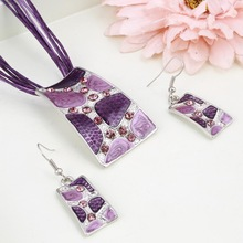 Ethnic Crystal Wedding Jewelry Sets Unique 4 Colors Geometric Beach Stone Enamel Pendant Necklace Dangle Earrings Set for Women