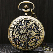 Vintage Copper Hollow Beautiful Clcok Flowers Necklace Pendant Steampunk Quartz Pocket Watch  for Lady Women Gifts Item Fiancee