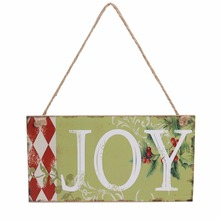Rustic Flower JOY Wooden Plaque Hanging Board Wall Sign Art Christmas Day Holiday Home Garden Decoration Favor Gifts