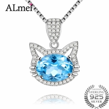 Almei Girls Gift 2ct Blue Topaz Cat Necklace Long Pendant Brand Crystal Chain New 2017 Silver 925 Women Jewelry with Box CN030(China)