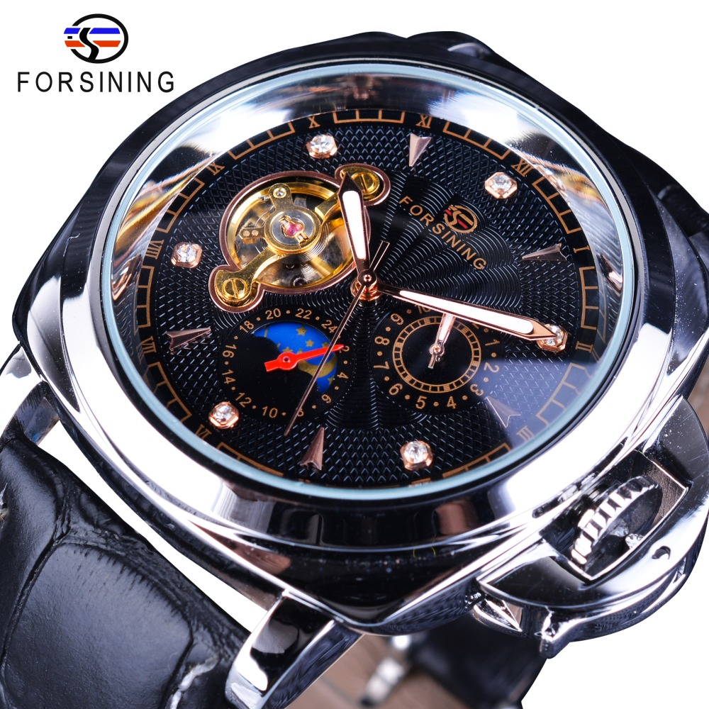 Forsining Leather Belt Men Business Fashion Military Watch Top Brand Luxury Diamond Black Dial Tourbillion Mechanical Wristwatch<br>