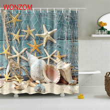 WONZOM 1Pcs Marine Life Waterproof Shower Curtain Turtle Bathroom Decor Fish Decoration Cortina De Bano 2017 Bath Curtain Gift