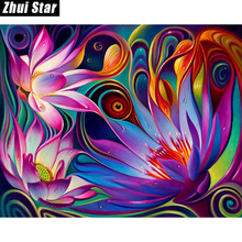 "Zhui Star Full Square Diamond 5D DIY Diamond Painting ""Flowers"" 3D Embroidery Cross Stitch Mosaic Painting Decor BK(China)"