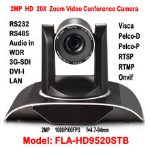 2MP Full HD 20X Zoom Video Conference Camera Wifi Or Wireless HDSDI DVI IP Onvif H.265 Pan 340 degree Rotation 255 Presets(China)
