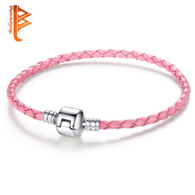 BELAWANG Simple Silver Plated Clasp Genuine Leather Bracelet for Women Men Original Charm Bracelet Bangles DIY Bead Jewelry