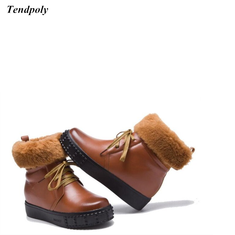 2018 autumn winter new leather Womens shoes size (35-40) selling casual short plush leather straps round low snow Female boots<br>