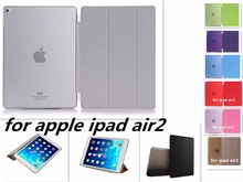 Free shipping PU Leather Slim Magnetic Front Smart Cover Skin + Hard PC Back Case for Apple  ipad air2 A1566`A1567 case
