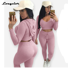 New fashion cotton two pieces set women club wear clothing sexy crop tops and pencil pants long sleeve two pieces outfits LM2