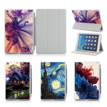 Printed Starry Night Case For iPad 5/ 6 Leather Cover For iPad Air/ Air 2 Tablets Accessories Luxury Stand Smart Case(China)