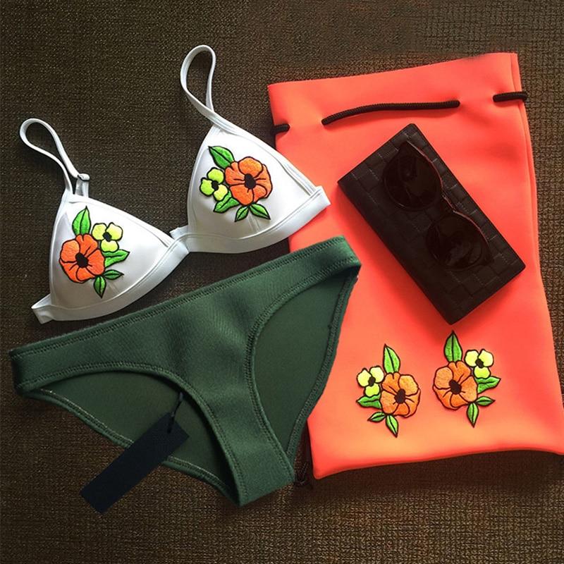 2017New Mesh Swimwear Women Sexy PUSH UP Neoprene Bikini Set Floral Swimsuit Biquini<br><br>Aliexpress