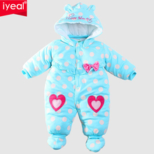 IYEAL Baby Winter Romper cotton-padded One Piece Newborn Baby Girl Warm Jumpsuit Autumn Fashion baby's wear Kid Climb Clothes(China)