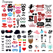 Tronzo Wedding DIY Decoration Photo Booth Props Funny Glasses Mustache Birthday Party Supplies Photobooth Favor 22/27/31Pcs(China)