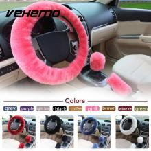 Vehemo 3pcs/1set Wool Car Steering Wheel Cover Sets Sleeves Pillow Winter Supplies Warm