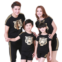 Family Clothing Look Fashion Gold Tiger Head Short-sleeve T-shirts Tees Matching Outfits Clothes Mother Mom Daughter Father Son(China)