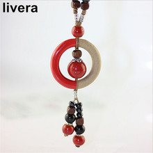 livera New Fashion Colorful Ceramic Pendant Necklace Vintage Wax Wire Necklaces Elegant Ethnic Long Necklace Nice Gift For Women