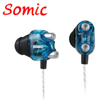 Somic V4 Wired Earphone Noise Cancelling Ear Buds HIFI Earphone Professional Earburd Double Dynamic Running Headset Bass 3.5MM