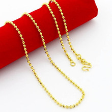 pure gold color 2mm balls beads chain necklace for pendant Wholesale Price, Fashion women Jewelry ,24K gold GP chain necklace