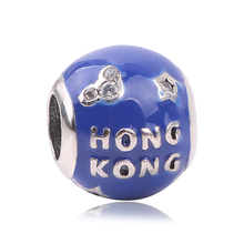 Couqcy Original 925 Sterling Silver HONG KONG Charms With Soft Blue Enamel Beads Fit Authentic COC Bracelets Jewelry Making(China)
