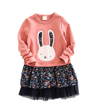 Artishare Girls Dress 2017 Spring Princess Dress Long Sleeve Rabbit Embroidery Design for Kids Dress Children Clothes