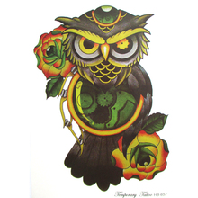 Vintage colorful machine Owl Arm Fake Transfer rose Tattoo Sexy Large robot Temporary Tattoos Sticker Men Women Body Art 21*15cm(China)