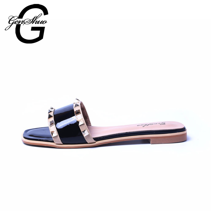 GENSHUO 2017 Latest Sexy Square Toe Rivet Slip On Slipers Rubber Sole Non-slip Summer Beach Shoes Sandals Hottest Summer Sandal(China)