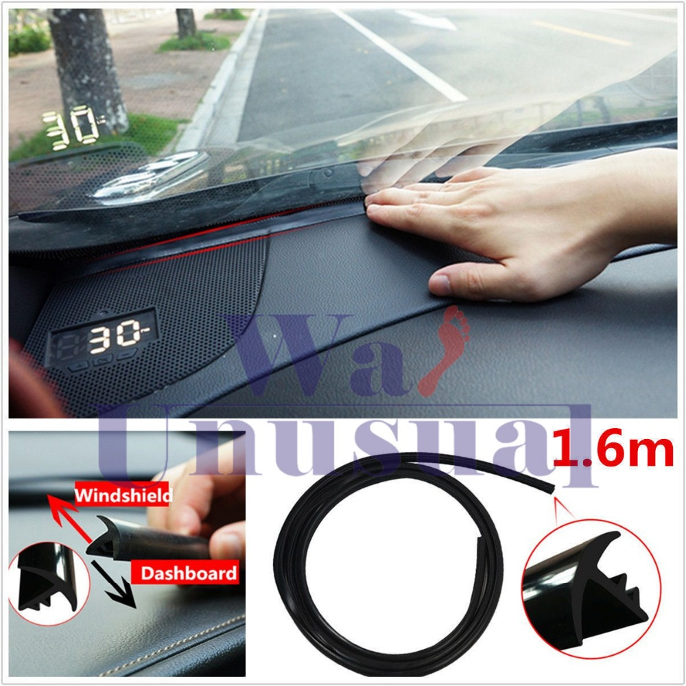 Rubber 1.6m Soundproof Dustproof Sealing Strip for Auto Car Dashboard Windshield 6