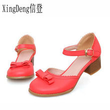 XingDeng Women Fashion Sweet Woman Round Toe Bow Ties High Heels Pums Shoes Ladies Belt Buckle Party Stiletto Plus Size 32-44(China)