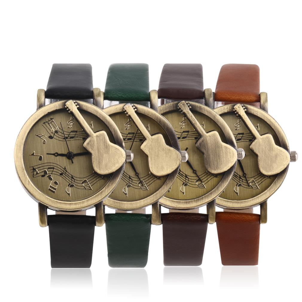 Vintage Unique Design Guitar Pattern Stave Dial Music Notation Analog Quartz Wrist Watch PU Leather Watchs Retro Gift<br><br>Aliexpress
