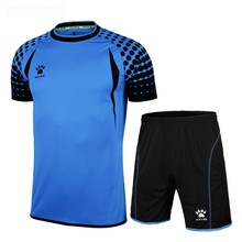 Kelme K15Z012 Men Short Sleeve With Side Protection Print Professional Competition Football Goalkeeper Suit Blue Black