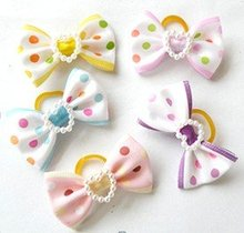 Wholesale Pet Product Handmade Dog Accessories Hair Clips Bows Doggie Boutique Party Show Mixed Colors 50PCS/LOT