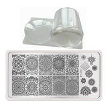 Nail Art Stamp Image Plate+ Transparent Clear Jelly Stamper 3.8cm Nail Stamping Square Scraper with Cap Polish Print Transfer(China)