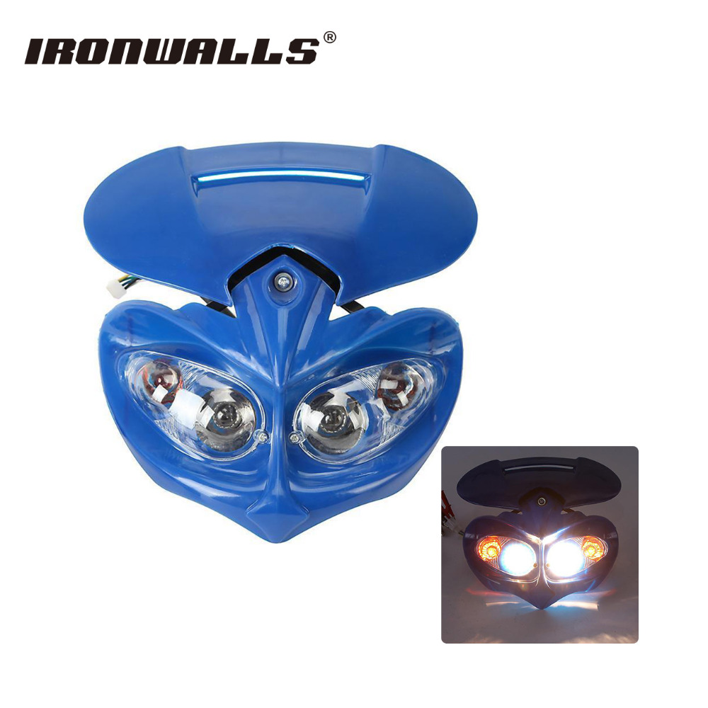 Universal Blue Motorcycle Headlight Streetfighter Headlamp Fairing Kit Set for Honda Yamaha Suzuki Kawasaki ZZR400 KLE Dirt Bike(China)