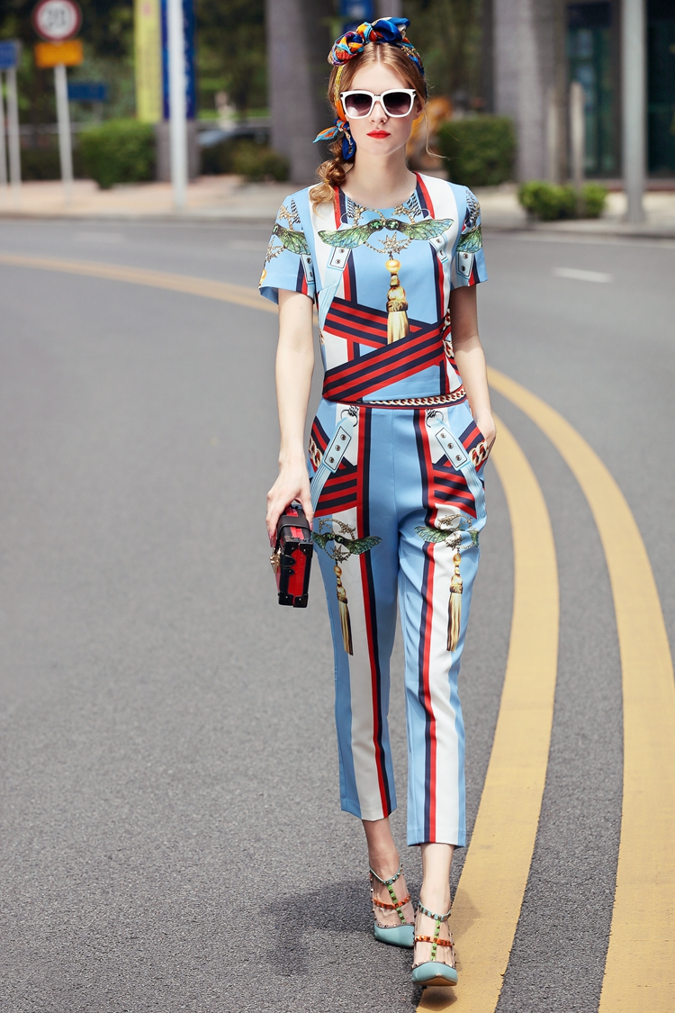 High Quality 17 European Designer Runway Suit Set Women's Two Piece Printing Short Tops + Mid-Calf Pants Set Free DHL Aramex 6
