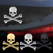 CITALL Car Styling Metal Cool 3D Skull Bone Skeleton Crossbones Emblem Badge Logo Sticker Car Auto Motorcycle Boat Decoration(China)